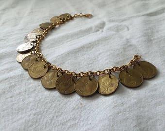 Antique Butterfly-Coin Gold Bracelet/Ankle Bracelet