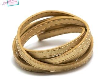 "98 cm Strip split leather 5 x 2 mm ""stitching"", gold"