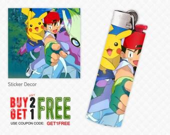 Lighter Stickers for Standard BIC Lighter Size, Pikachu, Pokemon, Wraps, Skin, Cover