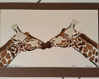 Giraffes in Love authentic Leather Art