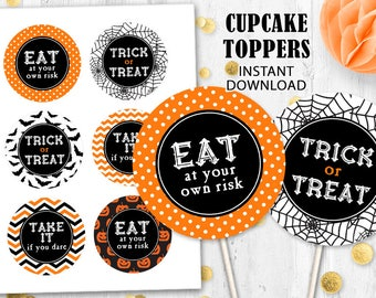 Halloween toppers Orange black Cupcake toppers Cake toppers Trick or Treat toppers Spider web bats