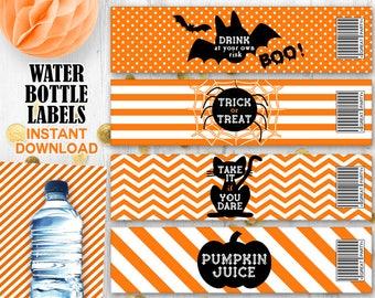 Halloween labels Orange black Water bottle labels Trick or Treat labels Spider web bats Pumpkin Cat labels