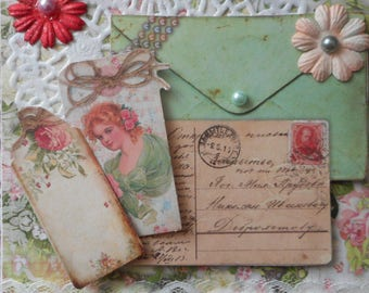Victorian style 3D postcard envelope and letter on floral background ideal for birthday
