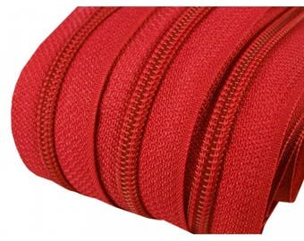 zipper at the meter red mesh 3 mm spiral
