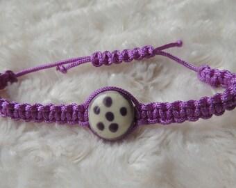 Light purple macrame with ceramic Bead Bracelet