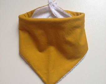 Large bib - bandana Terry mustard white