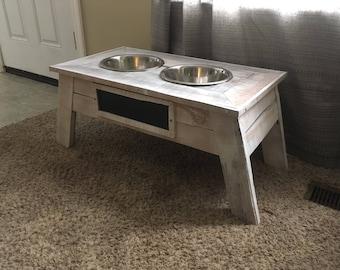 Pallet Wood Dog Food Bowl Stand (2 Bowls)