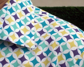 Vintage patterned diamond blue and yellow 100% cotton shirt.