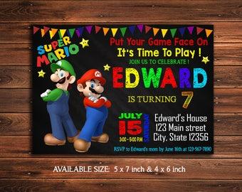 Super Mario Invitation -Super Mario Birthday Invitation - Mario Luigi Party - Super Mario Invite - Super Mario Party - Super Mario Printable