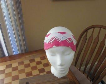 Pink Chevron Print Headband with Rhinestones