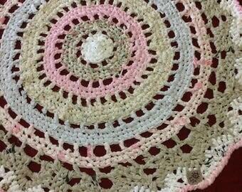 Victorian Pinky crochet RagRug Mandala blanket