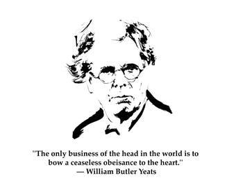 Printable Art - William Butler Yeats - digital original portrait whit words - ink drawing of William Butler Yeats