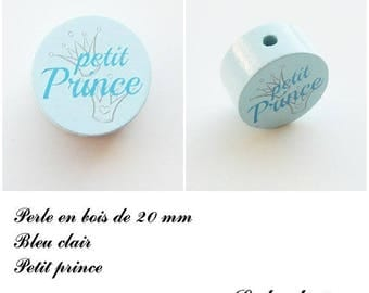Wooden bead with 20 mm flat bead, little prince, Crown: light blue