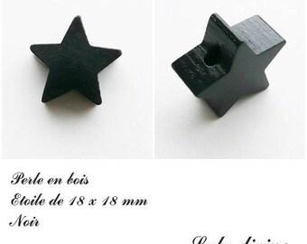 18 x 18 mm wooden bead, bead flat Star: black