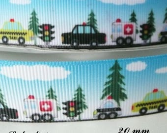 Ribbon grosgrain background landscape car Ambulance Police cab 20 mm sold by 50 cm