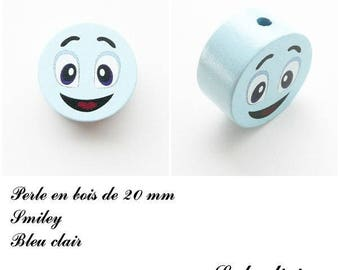 Wooden bead of 20 mm, flat bead, smiley face: light blue
