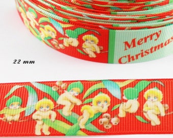 Ribbon grosgrain red & green Merry christmas little angel of 22 mm sold by 50 cm