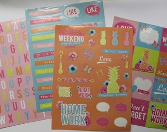 4 sheets of stickers for scrapbooking, invitations, journaling tropical theme