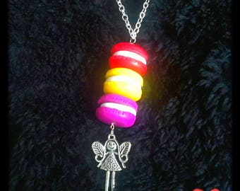 """Trio macarons"" polymer clay necklace with pendant girl"