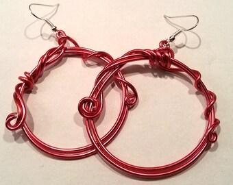 Red aluminum wire hoop earrings