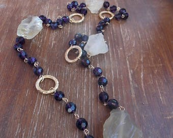 Bohemian glass beads and irregular shaped Citrine beaded necklace