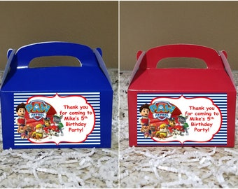 Sale! 12 Paw Patrol Treat Boxes, Paw Patrol Gable Boxes, Paw Patrol Candy Boxes, Paw Patrol Party Boxes