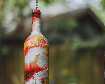 Single Silver Wine Bottle Lantern - Hanging Candle - Hanging Lantern - Gifts for Mom - Housewarming Gift