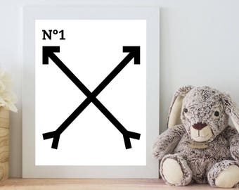 No. 1  ||  Digital Print, Son, Daughter, Nursery, Child's Room, Monochrome