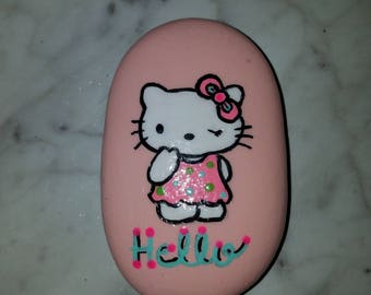 Hello Kitty Like Painted Rock