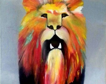 Lion painting oil on canvas painting