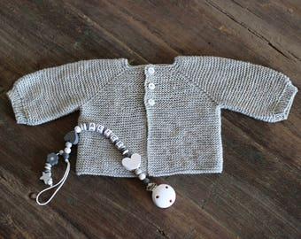 Life jacket baby birthstone Pearl gray merino