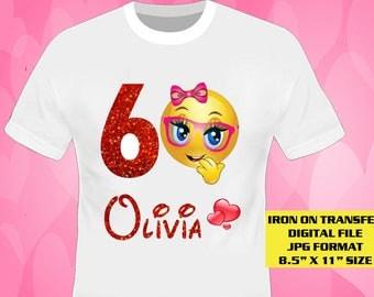 Emoji Girl Iron On Transfer Design , Emoji Birthday Shirt DIY , Emoji Shirt Diy , Digital File Only , Girl Shirt DIY , Personalize Name