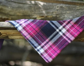 Black Raspberry Plaid Bandana