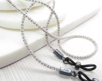Antique Silver Eyeglasses Chain; Eyeglass Cord; Reading Glasses Necklace Holder; Glasses Cord; Eyewearformen; black glasses chain for men