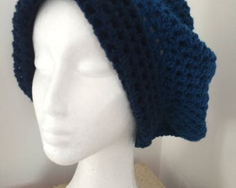 Dark teal and Navy Blue slouchy Beret.