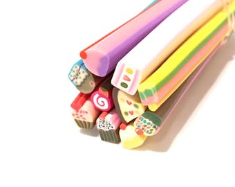 ❤ X 10 canes polymer clay cake mix 5mm (1 set) ❤