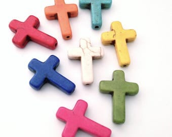 X 8 25x18mm dyed Howlite cross