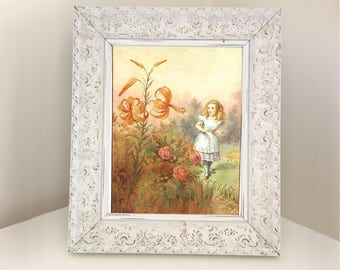 The Garden of Live Flowers. Book Illustration of Alice talking to Tiger-Lily & Rose from Through the Looking-Glass. Nursery Bedroom Decor