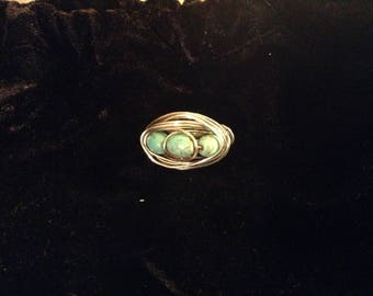 Robin's Nest 10 Turquoise triple Ring