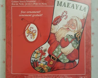 Needle Treasures CHEERY SANTA Counted Cross Stitch Stocking Kit