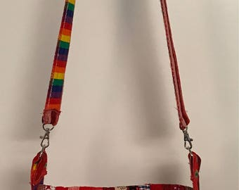 Quilted cross body or shoulder bag in reds