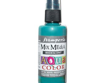 Iridescent turquoise Aquacolor in spray bottle
