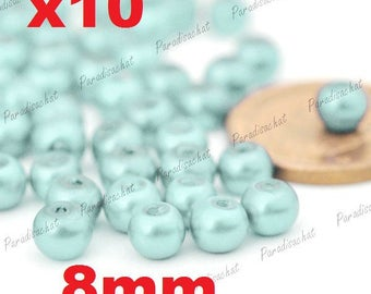 10 beads glass Pearl 8mm blue color ref5
