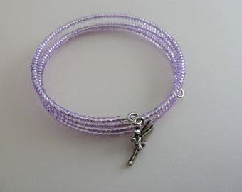 handmade lilac fairy wrap bracelet, UK jewellery