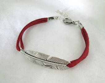 Handmade bracelet silver feather suede red unique ❤