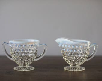 Vintage Anchor Hocking Moonstone Clear Opalescent Footed Creamer & Footed Open Sugar Bowl