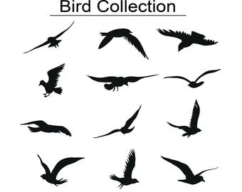 12 Birds svg, Bird Silhouette, Birds Clipart, Animals Silhouettes, Silhouette Files, Birds Cut Files, Birds, Cricut,file eps,svg,png,jpg,pdf