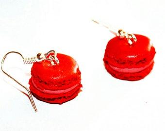 Red berries macaroon earrings