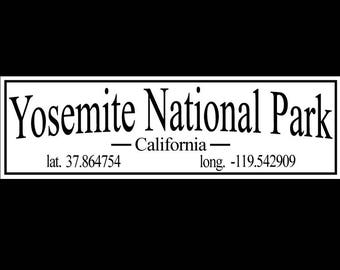 Yosemite National Park, California with Latitude and Longitude