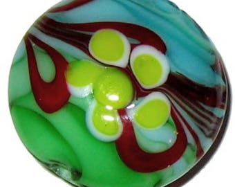 4 x Lampwork Flat Round Glass Beads - 20mm - A4165